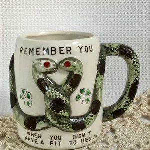 Rare Snake Shamrock Coffee Mug Jewel Eyes